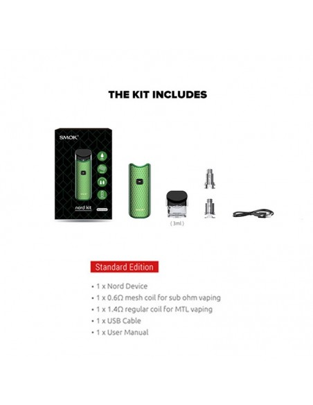 SMOK Nord Kit 1100mAh Capacity 3ml Pod + 2pcs Replacement Coil 1