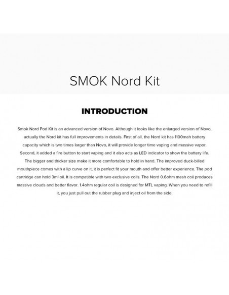 SMOK Nord Kit 1100mAh Capacity 3ml Pod + 2pcs Replacement Coil 2