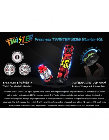 FREEMAX Twister 80W Kit 2300mAh With 5ml Fireluke 2 Tank 2