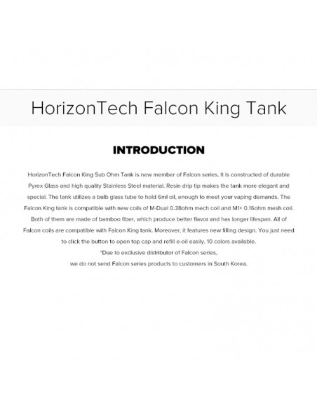 HORIZONTECH Falcon King Bulb Tank 6ml Included M1+ Coil/M-Dual Coil 2