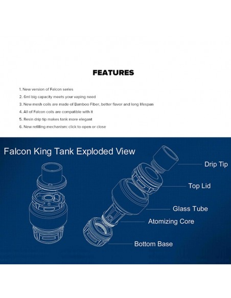 HORIZONTECH Falcon King Bulb Tank 6ml Included M1+ Coil/M-Dual Coil 4