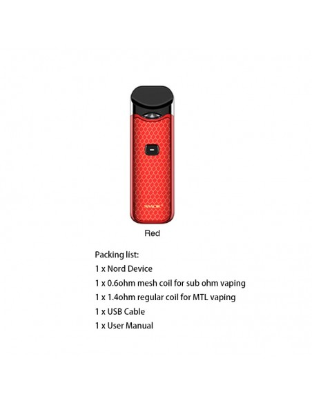 SMOK Nord Kit 1100mAh Capacity 3ml Pod + 2pcs Replacement Coil Red Kit:0 US
