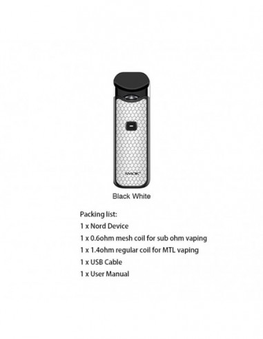 SMOK Nord Kit 1100mAh Capacity 3ml Pod + 2pcs Replacement Coil Black White Kit:0 US