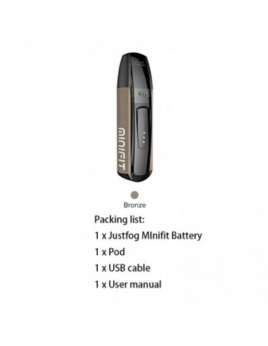 JUSTFOG Minifit Kit 370mAh AIO Pod System 1.5ml Capcity Bronze Kit:0 US