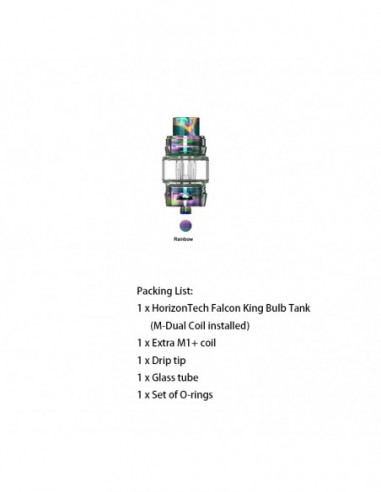 HORIZONTECH Falcon King Bulb Tank 6ml Included M1+ Coil/M-Dual Coil Rainbow Tank:0 US