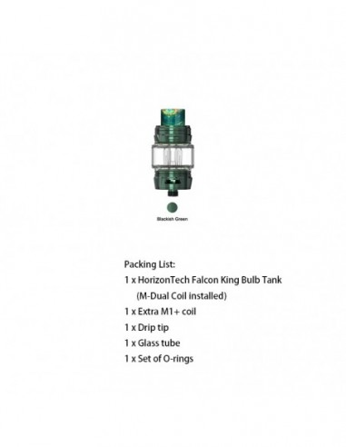 HORIZONTECH Falcon King Bulb Tank 6ml Included M1+ Coil/M-Dual Coil Blackish Green Tank:0 US