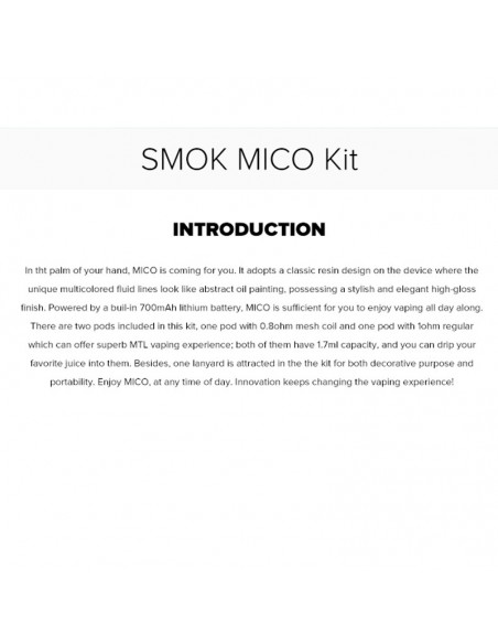 SMOK MICO Pod Starter Kit 700mAh With Ceramic/Mesh Coil Option 2