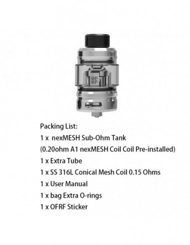 OFRF NexMESH Sub-Ohm Tank 4ml & 25mm SS Tank 1pcs:0 US