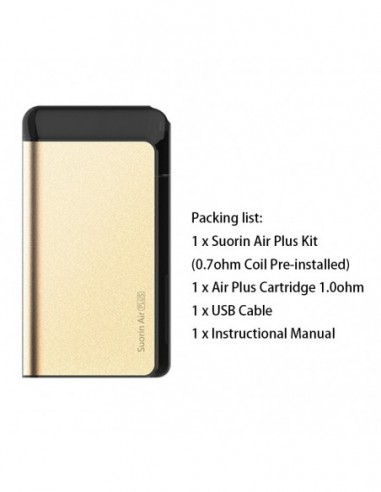 Suorin Air Plus Kit 900mAh & 3.5ml Pod System Gold Kit 1pcs:0 US