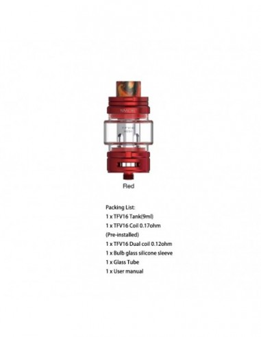 SMOK TFV16 Sub Ohm Tank 9ml With Mesh Coil Red Kit 1pcs:0 US
