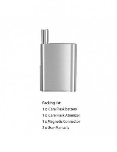 Eleaf iCare Flask Vape Kit: CBD Oil Vaporizer 510 thread 520mAh Silver Kit 1pcs:0 US