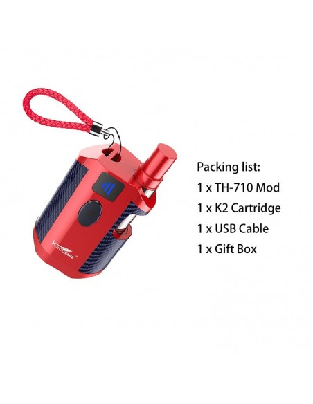 Kangvape TH-710 Vape Box Mod Kit: 510 Thread CBD Vaporizer 650mah Red Kit 1pcs:0 US