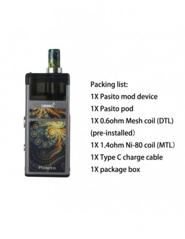 Smoant Pasito Rebuildable Pod System Box Mod Kit 1100mAh Gun metal Kit 1pcs:0 US