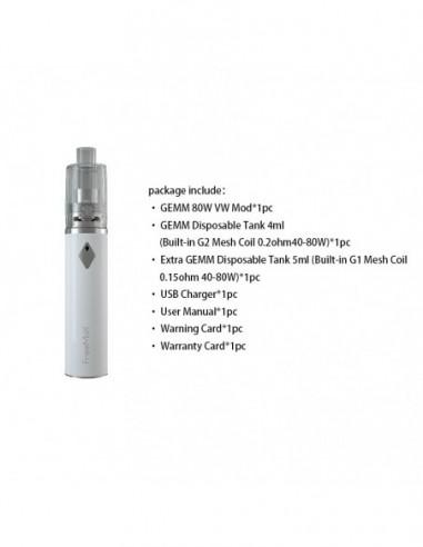 Freemax GEMM 80W Starter Kit 2900mAh With GEMM Disposable Tank White Kit 1pcs:0 US
