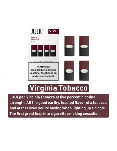 JUUL Pod Flavors Virginia Tobacco Pod 5% Nic 4pcs:0 US