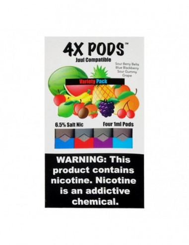 Variety Pack - 4X Pods Juul Compatible 6.5% 4pcs:0 US