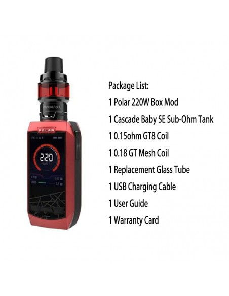 Vaporesso Polar Kit with Cascade Baby SE Tank Red Kit 1pcs:0 US