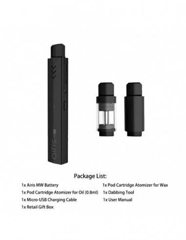 Airistech Airis MW Vape Pen For Wax/Oil Black Kit 1pcs:0 US