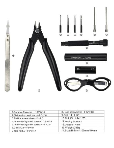 Vandy Vape Tool Kit Pro - 12 in 1 1