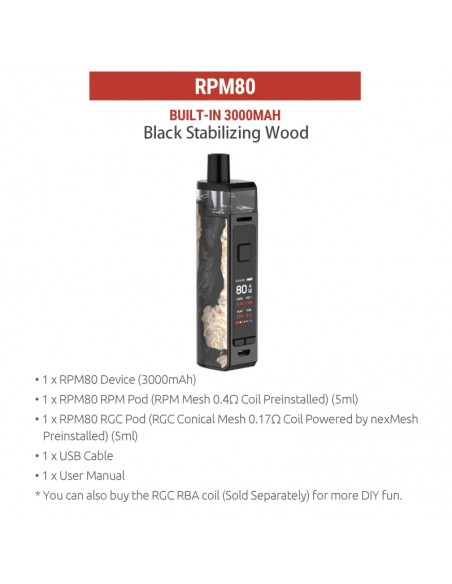 SMOK RPM80/RPM80 Pro Pod Mod Kit 3000mAh Black Stabilizing Wood kit 1pcs:0 US