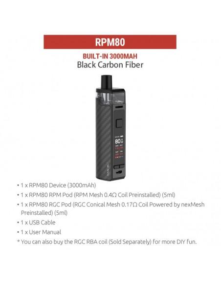 SMOK RPM80/RPM80 Pro Pod Mod Kit 3000mAh Black Carbon Fiber kit 1pcs:0 US