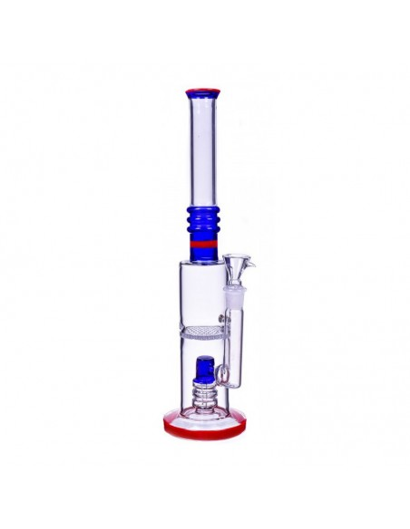 Dual Perc Cylinder Base Bong 16 Inches 1