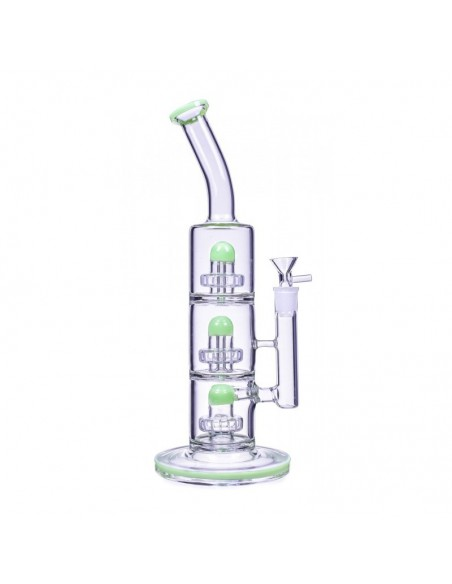 The Defender Triple Inline Showerhead Bong 14 Inches 2