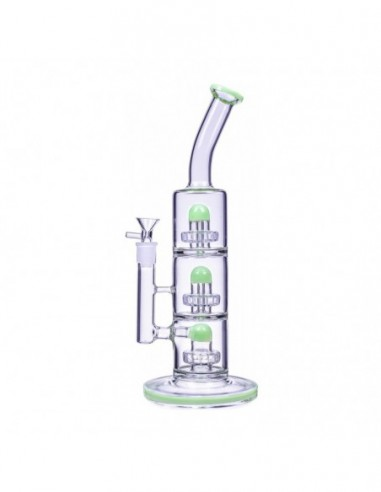 The Defender Triple Inline Showerhead Bong 14 Inches American Green 1pcs:0 US