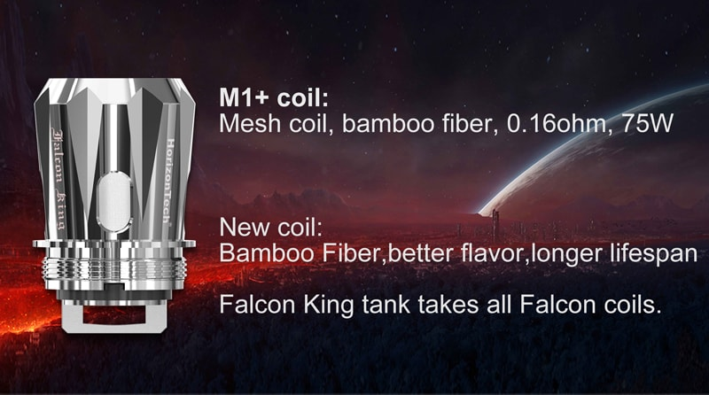 M1+ coil: Mesh coil, bamboo fiber, 0. 16ohm,rate for 75W
