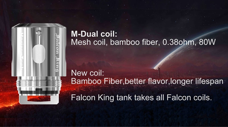 M-Dual coil: Mesh coil, bamboo fiber, 0. 38ohm, rate for 80W