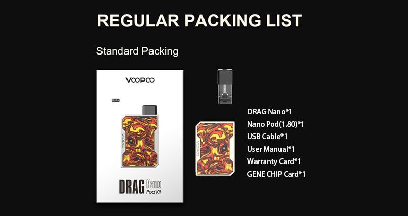 VOOPOO Drag Nano Regular Packing List