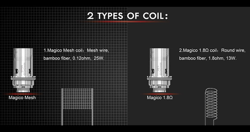 Horizon Magico coils Options: Magico Mesh Coil 0.12ohm and Magico Coil 0.18ohm