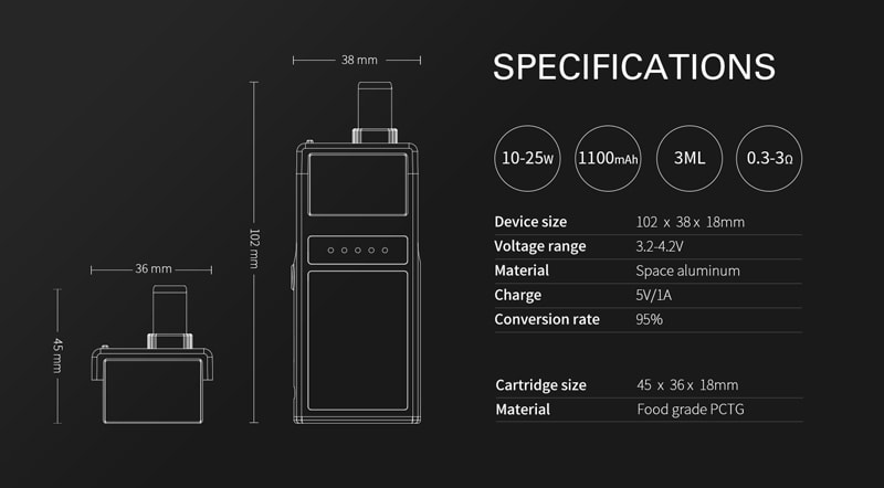 Smoant Pasito kit Specifications
