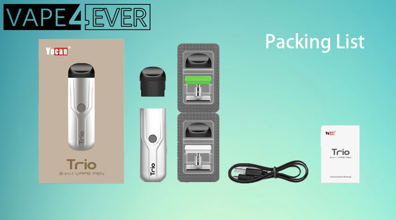 Yocan Trio 3 in 1 Vaporizer Package includes