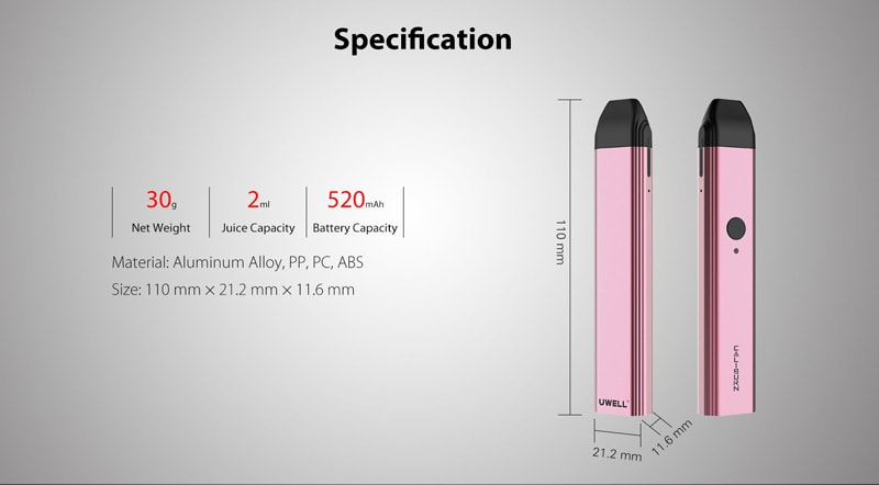 Uwell Caliburn Pod Kit Specifications