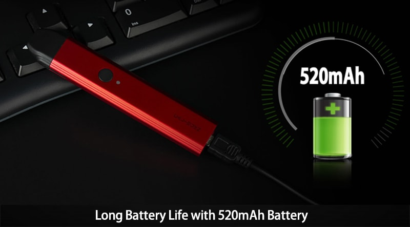 Long Battery Life with 520mAh Battery