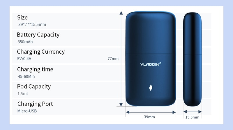 Vladdin Eden Pod System Kit Specifications