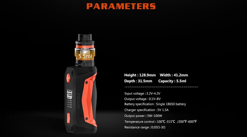 Geek Vape Aegis Solo kit Specifications