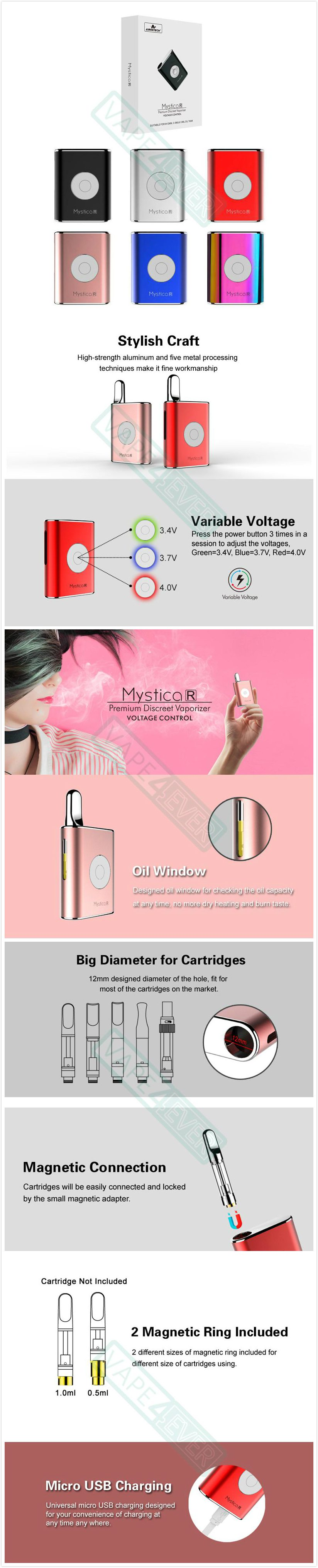 Airistech Mystica R Mod VV Box Mod For CBD/THC 450mAh Preheat Battery Instruction