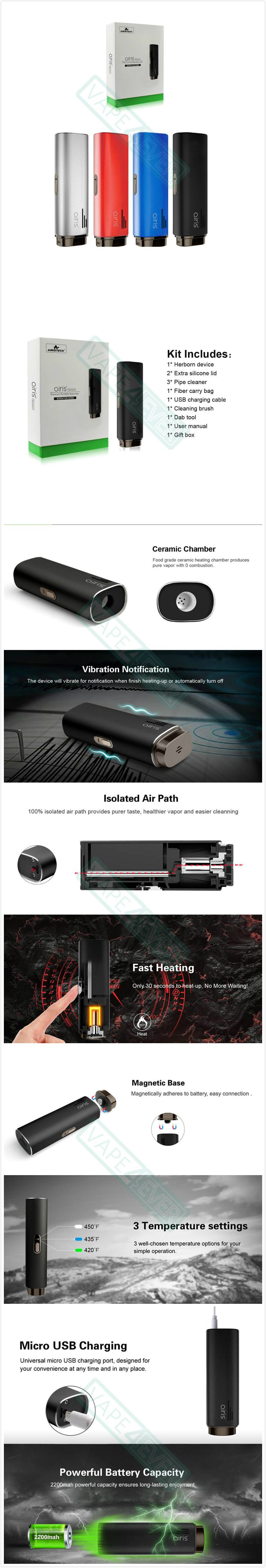Airistech Herborn Vaporizer Kit 2200Mah Herb Vape Pen Instruction
