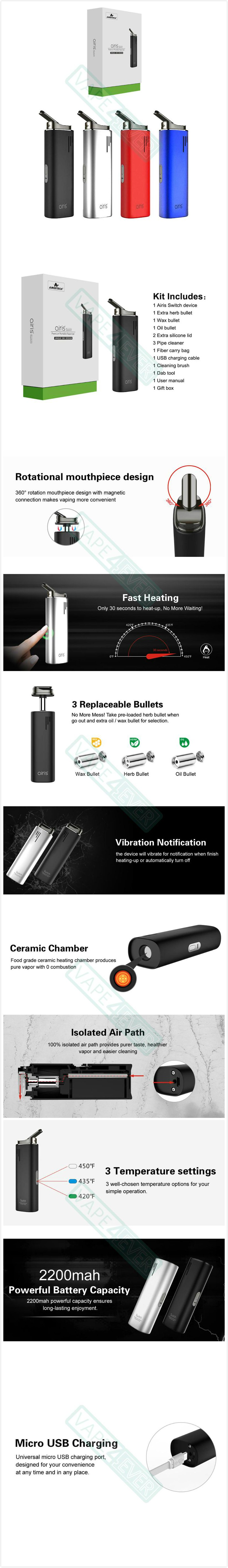 Airistech Switch 3-in-1 Starter Kit 2200mAh Wax/CBD Oil/Dry Herb Vaporizer Kit Instruction