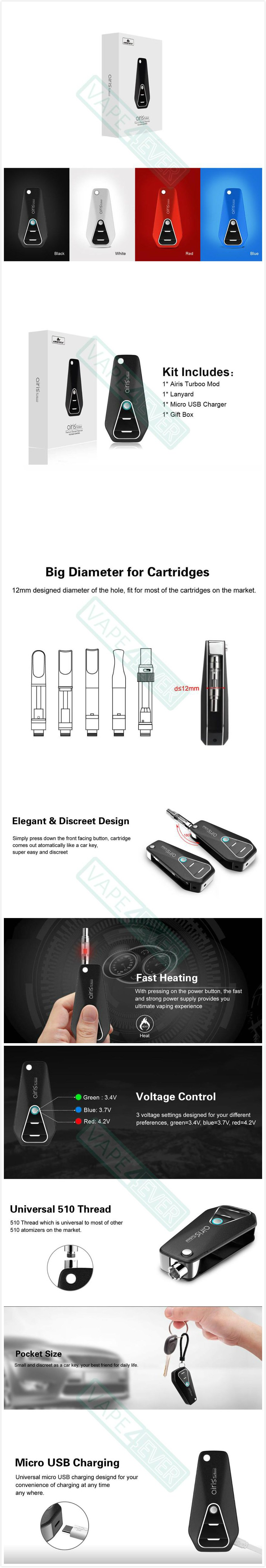 Airistech Airis Turboo Mod 510 Thread 450mAh Variable Voltage Battery Oil Vaporizer Instruction