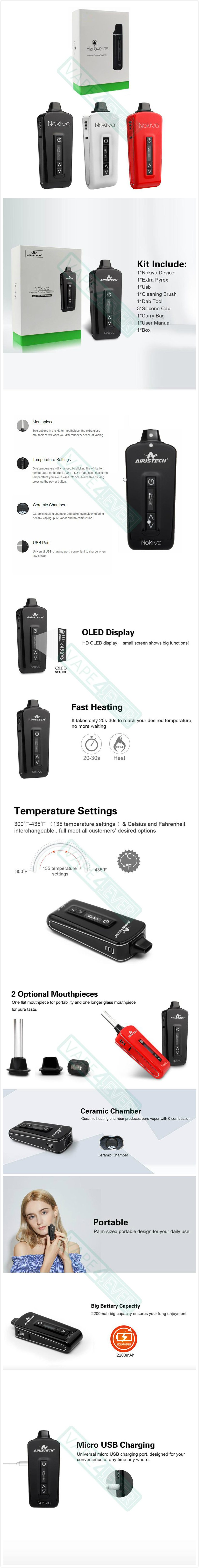 Airistech Herbva Nokiva 2200mAh Portable Dry Herb Vaporizer With OLED Display Instruction