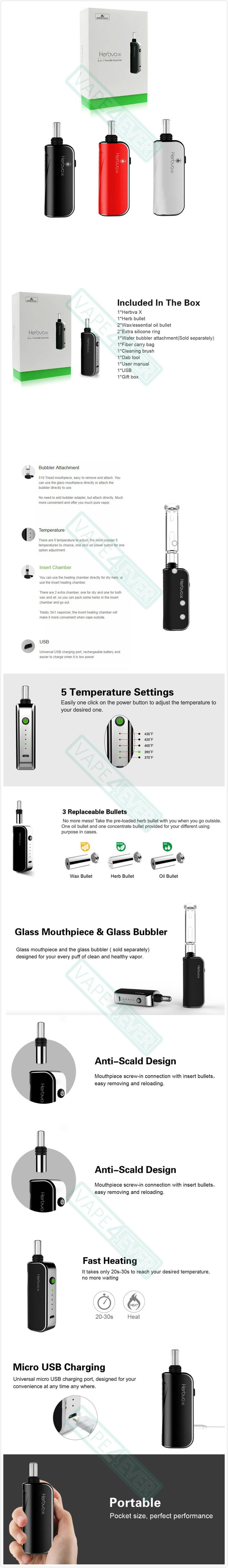 Airistech Herbva X 1000mAh 3-in-1 Vaporizer Kit For Dry Herb/Wax/Oil Instruction
