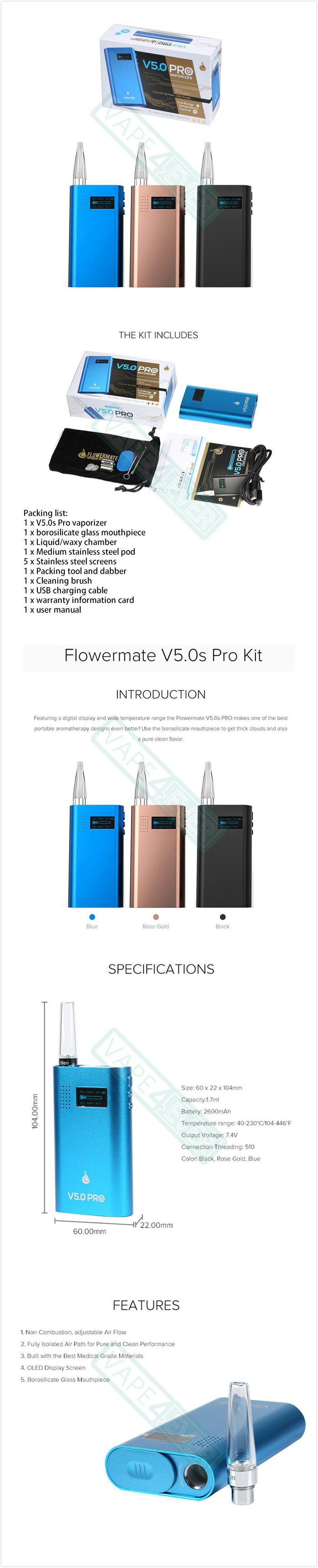 Flowermate V5.0s Pro Vaporizer Kit LG 2600mAh Battery Included Herb/Concentrate Pod Instruction