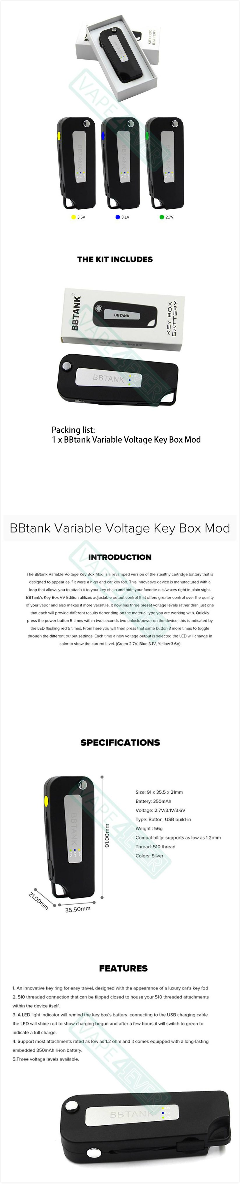 BBTANK Key Box Mod Variable Voltage Version 350mAh Li-ion Battery Instruction
