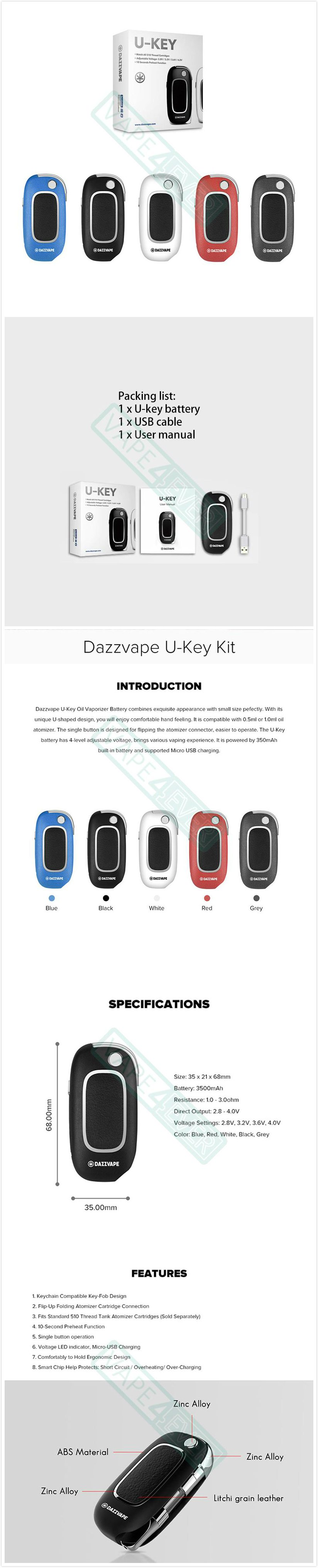 Dazzvape U-Key Oil Vaporizer 350mAh V/V Battery Fit For 0.5ml/1.0ml Cartridge Instruction
