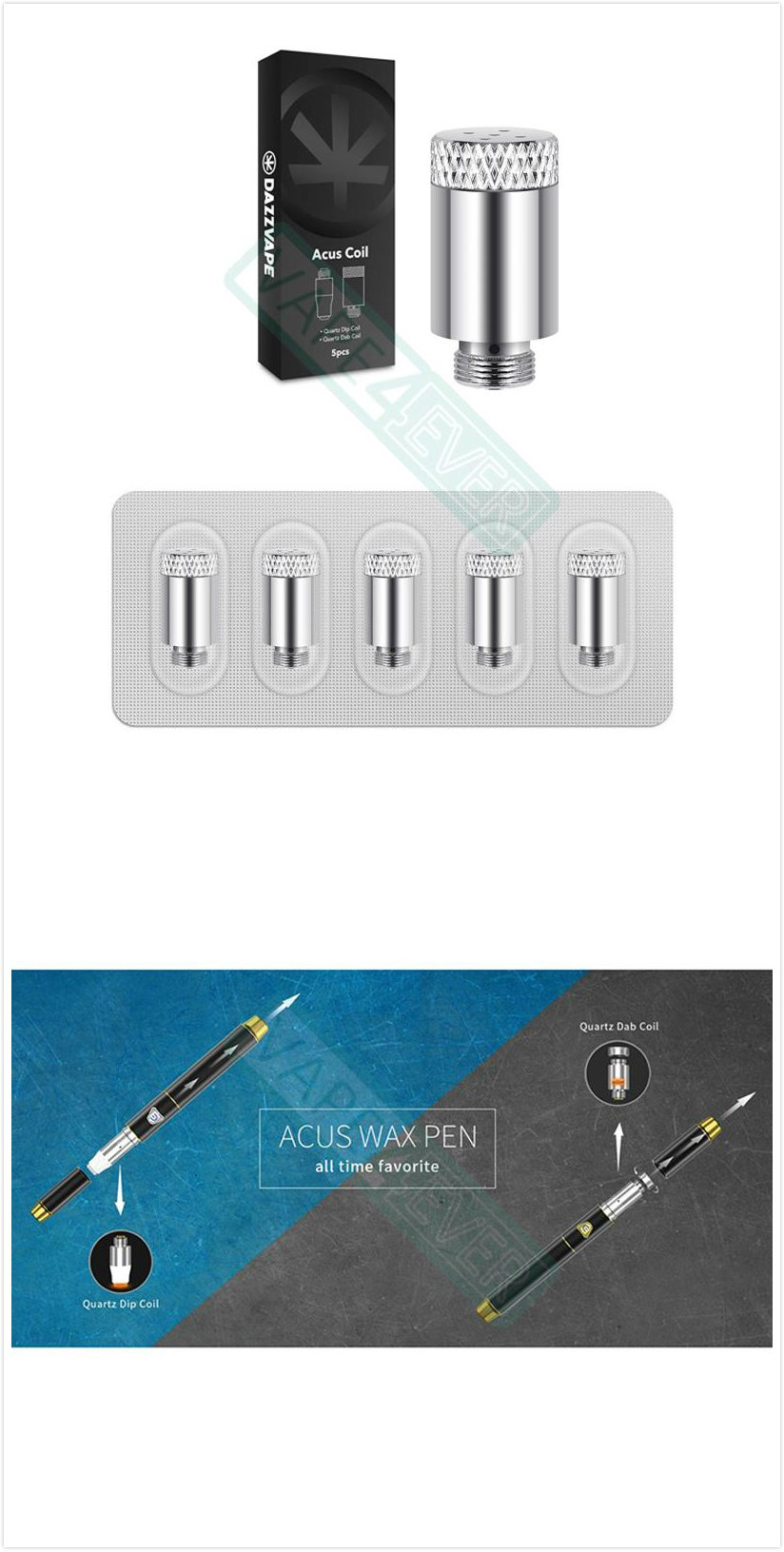 Dazzvape Acus Wax Pen Vaporizer Replacement Coil Acus Steel Dab Coil 5pcs/pack Instruction