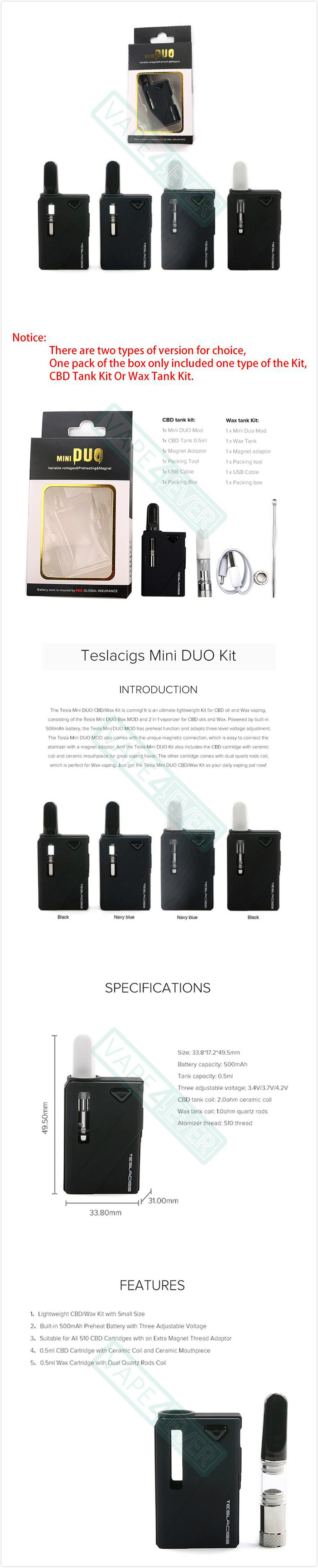 Teslacigs Mini Duo Starter Kit 500mAh Box Mod & CBD/Wax Tank For Vaporizer Instruction