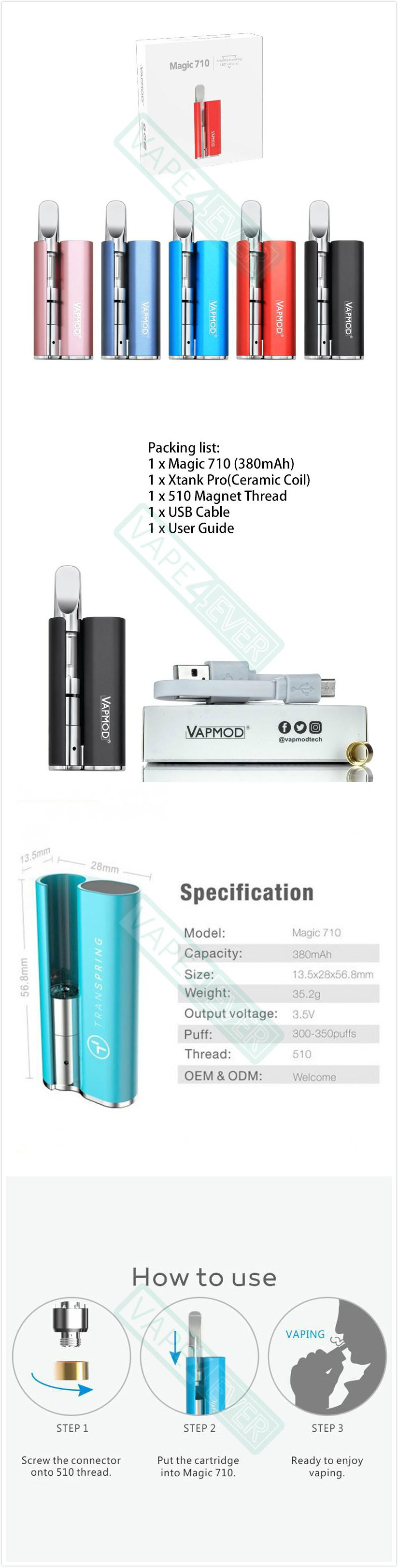 Vapmod Magic 710 Herbal Starter Kit 380mAh Concentrate Vaporizer With Xtank Pro Cartridge Instruction